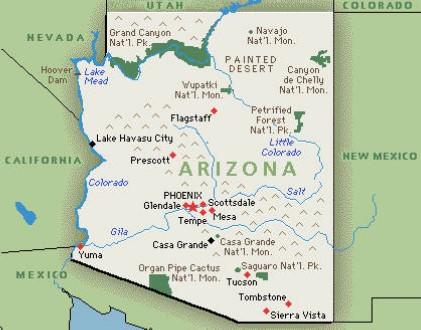 Arizona map Saguaro National Park Tucson Arizona tall skinny