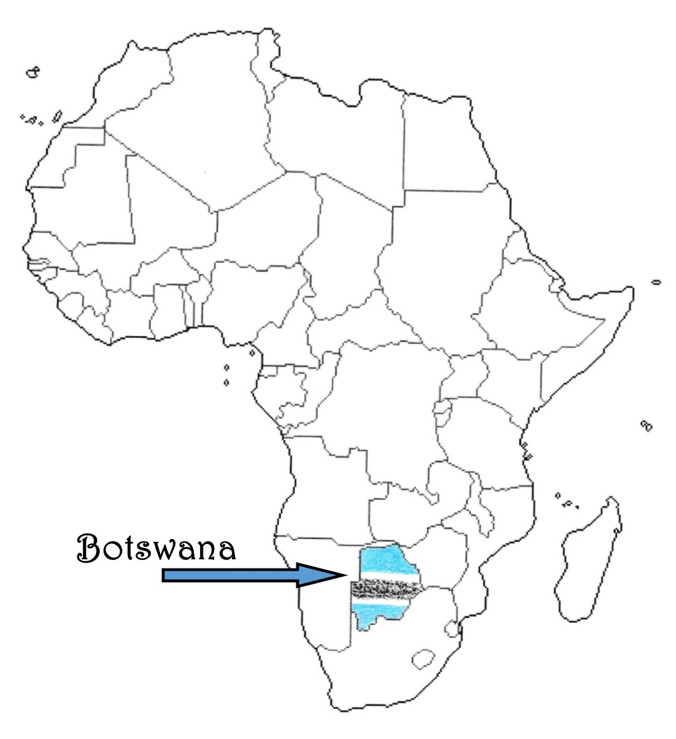 Botswana map flag outline Traveling Marla